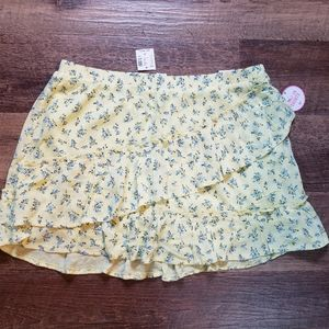 Girls Justice yellow floral skirt sz.18 Plus